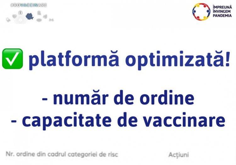 Platforma de programare a fost optimizată. Românii își pot vedea de acum locul pe lista de așteptare la vaccinare