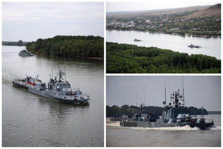 Vedetele blindate Opanez și Posada, execută activități complexe de instrucție pe Dunăre